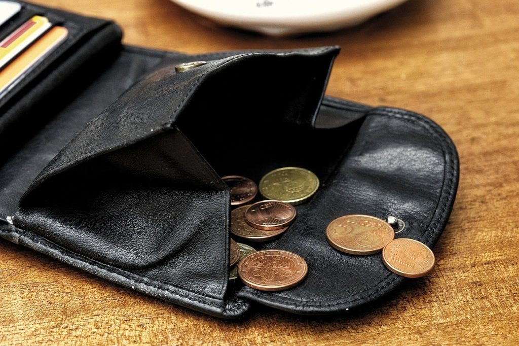 portefeuille à bouton